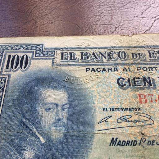 100 PESETAS 1925 - FELIPE II - MUY RARO CON 3 SELLOS EN SECO - MUY ESCASO (LEER) [2]