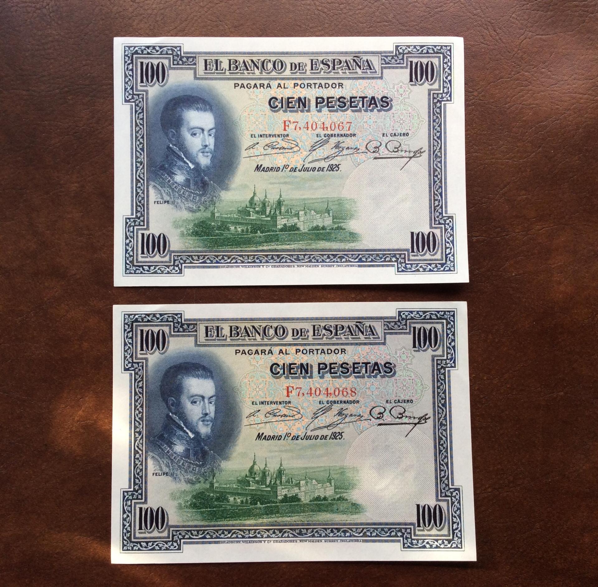PAREJA CORRELATIVA 100 PESETAS 1925 - SIN CIRCULAR - FELIPE II