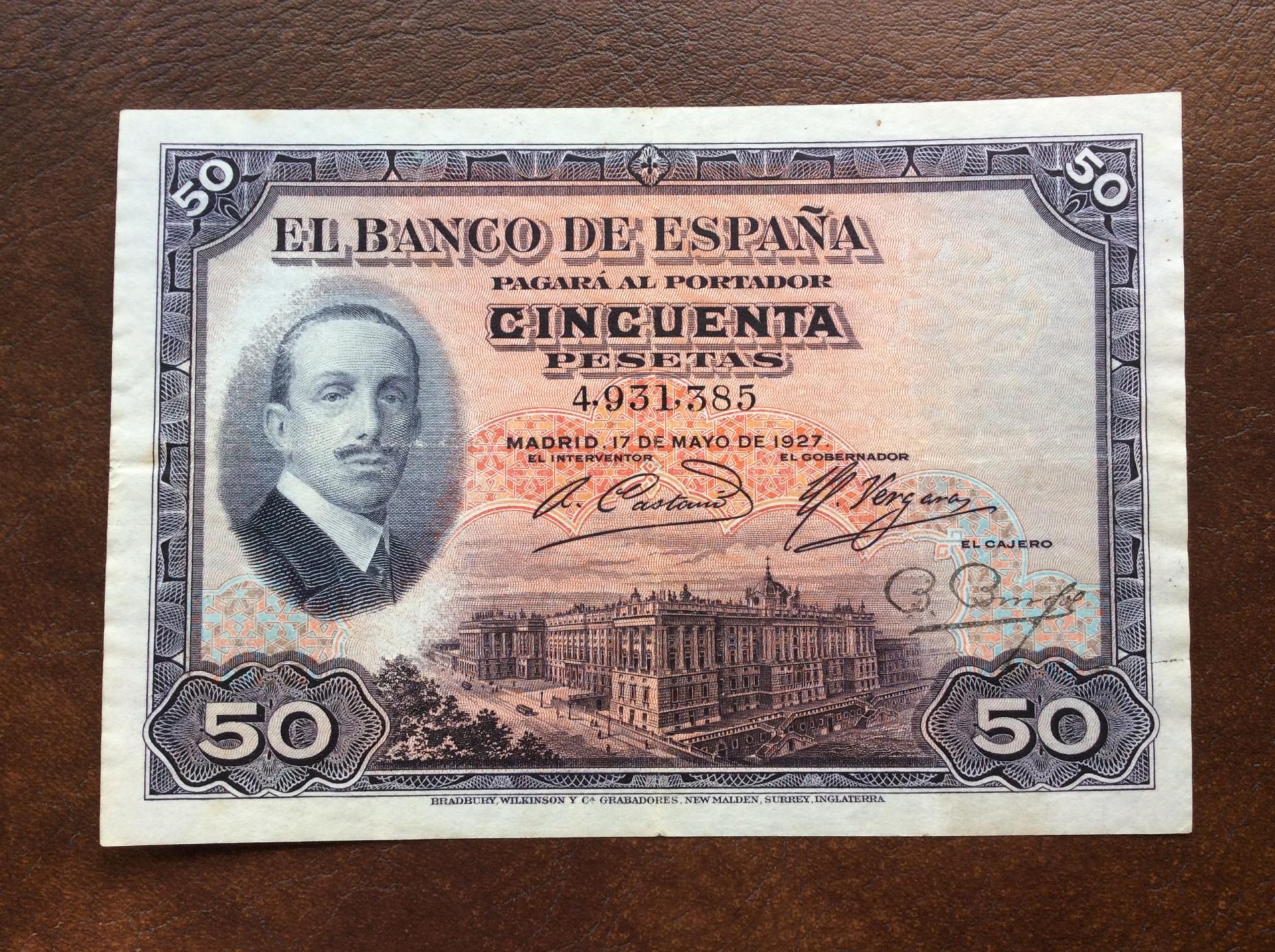 50 PESETAS 1927 - ALFONSO XIII - SIN RESELLO REPUBLICANO