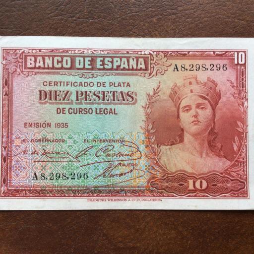 10 PESETAS 1935 - SIN CIRCULAR - II REPUBLICA