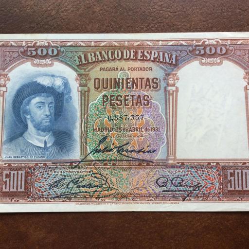 500 PESETAS 1931 - CASI SIN CIRCULAR - JUAN SEBASTIÁN DE ELCANO