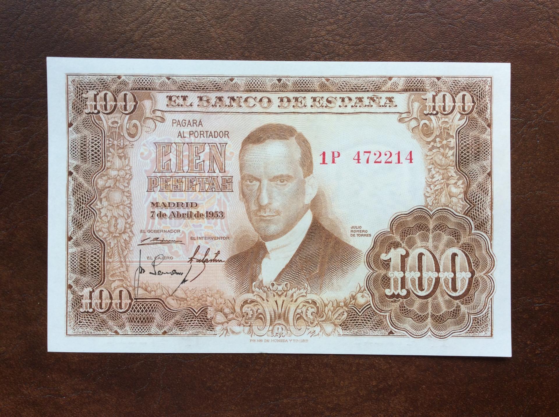 100 PESETAS 1953 - SIN CIRCULAR - JULIO ROMERO DE TORRES