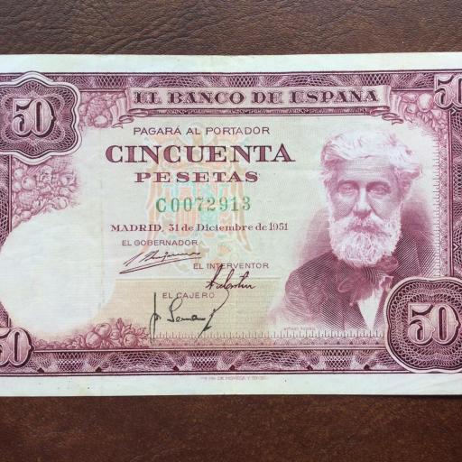 50 PESETAS 1951 - NÚMERO BAJO  [0]