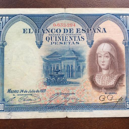"500 PESETAS 1927 - ""NÚMERO ANTERIOR A LA REPUBLICA"" [0]"