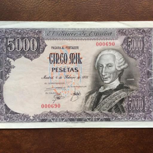 5000 PESETAS 1976 - NÚMERO MUY BAJO - SIN SERIE