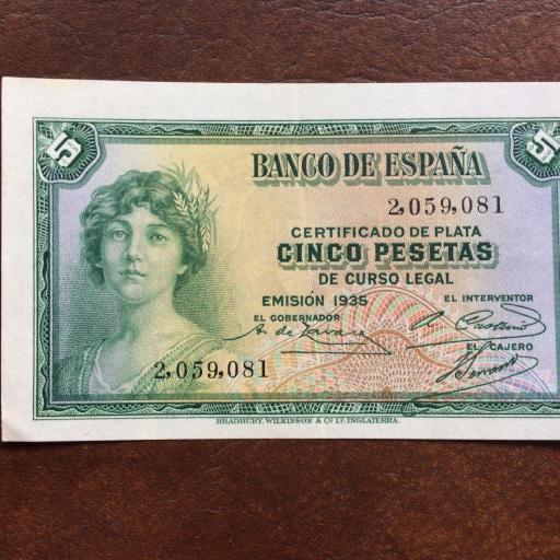 5 PESETAS 1935 - SIN SERIE - S/C-