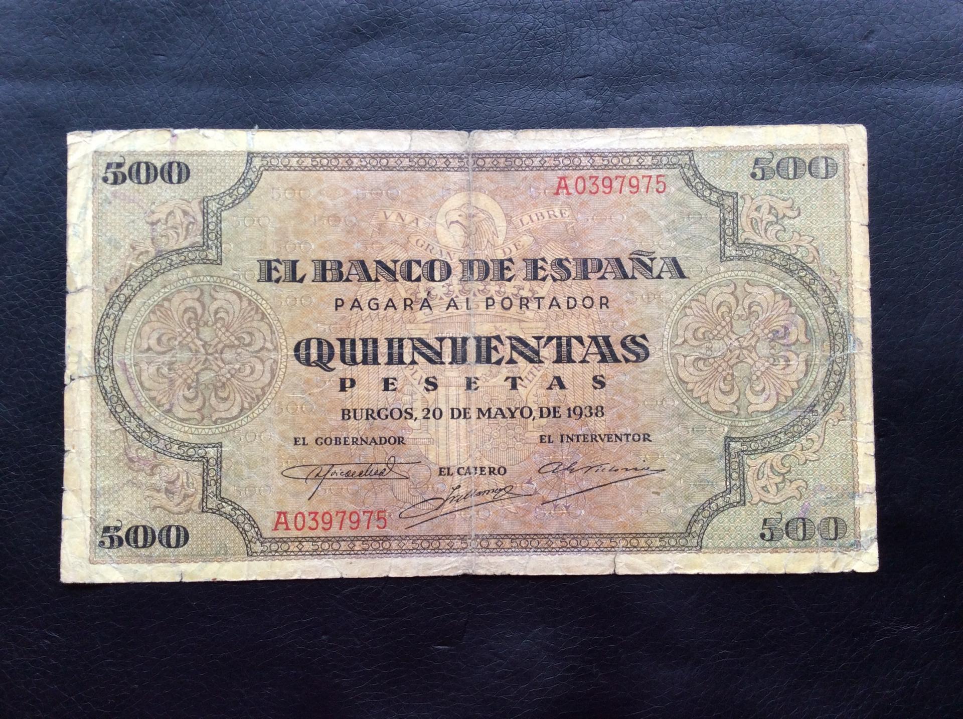 500 PESETAS 1938 - GUERRA CIVIL - BURGOS - ESCASO