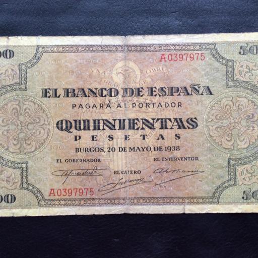 500 PESETAS 1938 - GUERRA CIVIL - BURGOS - ESCASO [2]