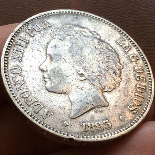 5 PESETAS 1893 - PGV - ALFONSO XIII - RIZOS