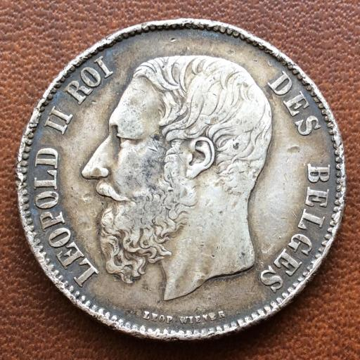 5 FRANCOS DE PLATA DE 1869 - BÉLGICA - LEOPOLDO II
