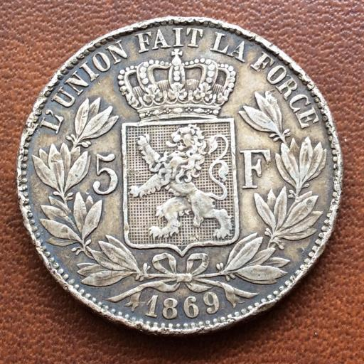 5 FRANCOS DE PLATA DE 1869 - BÉLGICA - LEOPOLDO II  [1]