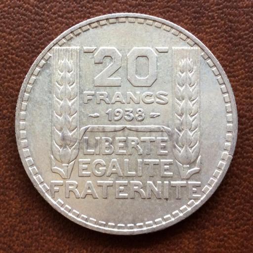 20 FRANCOS DE PLATA DE 1938 - REPUBLICA FRANCESA - SIN CIRCULAR  [3]