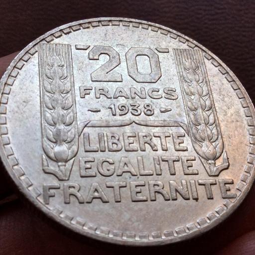 20 FRANCOS DE PLATA DE 1938 - REPUBLICA FRANCESA - SIN CIRCULAR  [1]