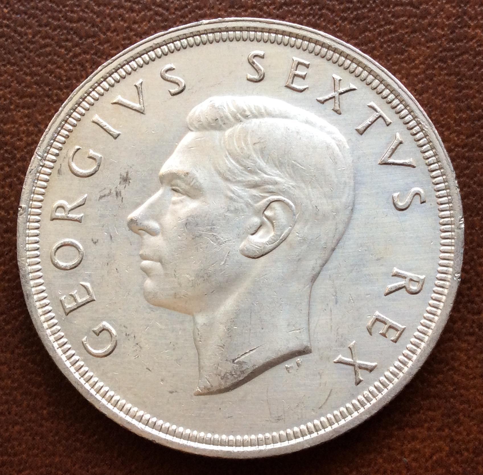 5 SHILLINGS DE PLATA DE 1948 - SUDÁFRICA - JORGE VI - GEORGIUS SEXTUS REX