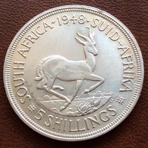 5 SHILLINGS DE PLATA DE 1948 - SUDÁFRICA - JORGE VI - GEORGIUS SEXTUS REX [1]