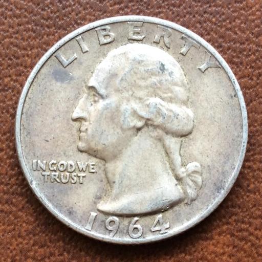 QUARTER DOLLAR DE PLATA DE 1964 - G.WASHINGTON - PHILADELFIA  [1]
