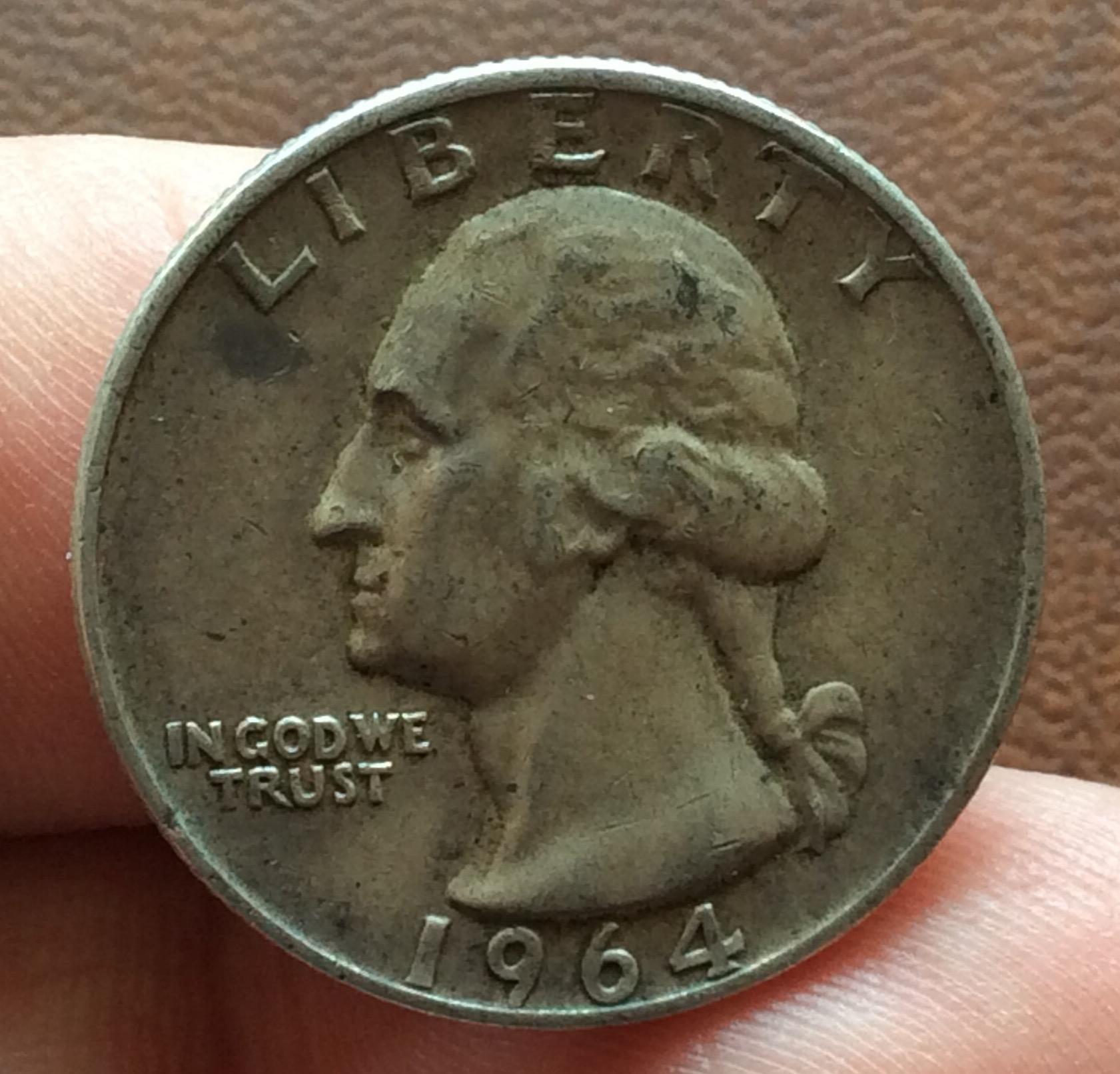 QUARTER DOLLAR DE PLATA DE 1964 - G.WASHINGTON - PHILADELFIA