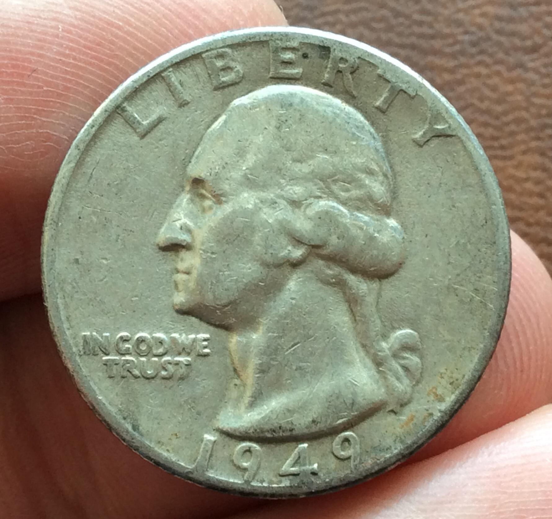 QUARTER DOLLAR DE PLATA DE 1949 - G. WASHINGTON - PHILADELFIA