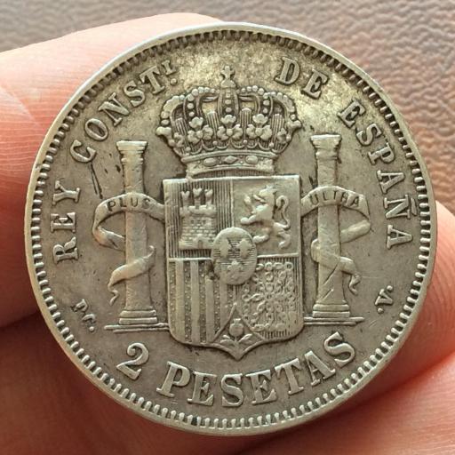 2 PESETAS PLATA 1894 - ALFONSO XIII - RIZOS  [1]
