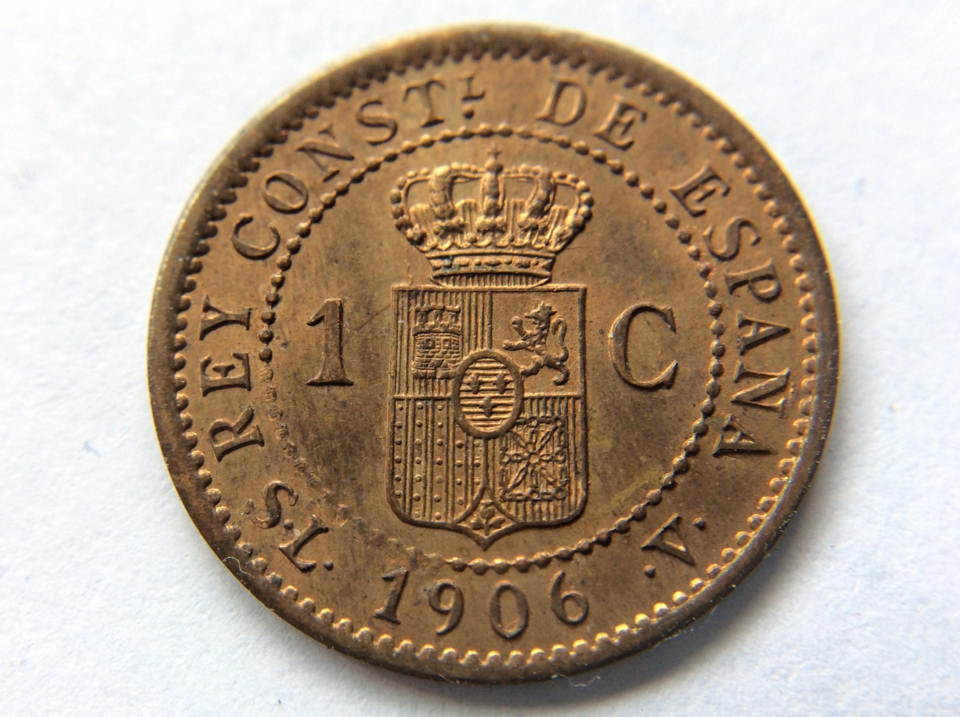 1 CÉNTIMO DE COBRE DE 1906 - ALFONSO XIII - SIN CIRCULAR