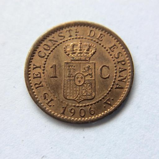 1 CÉNTIMO DE COBRE DE 1906 - ALFONSO XIII - SIN CIRCULAR  [3]