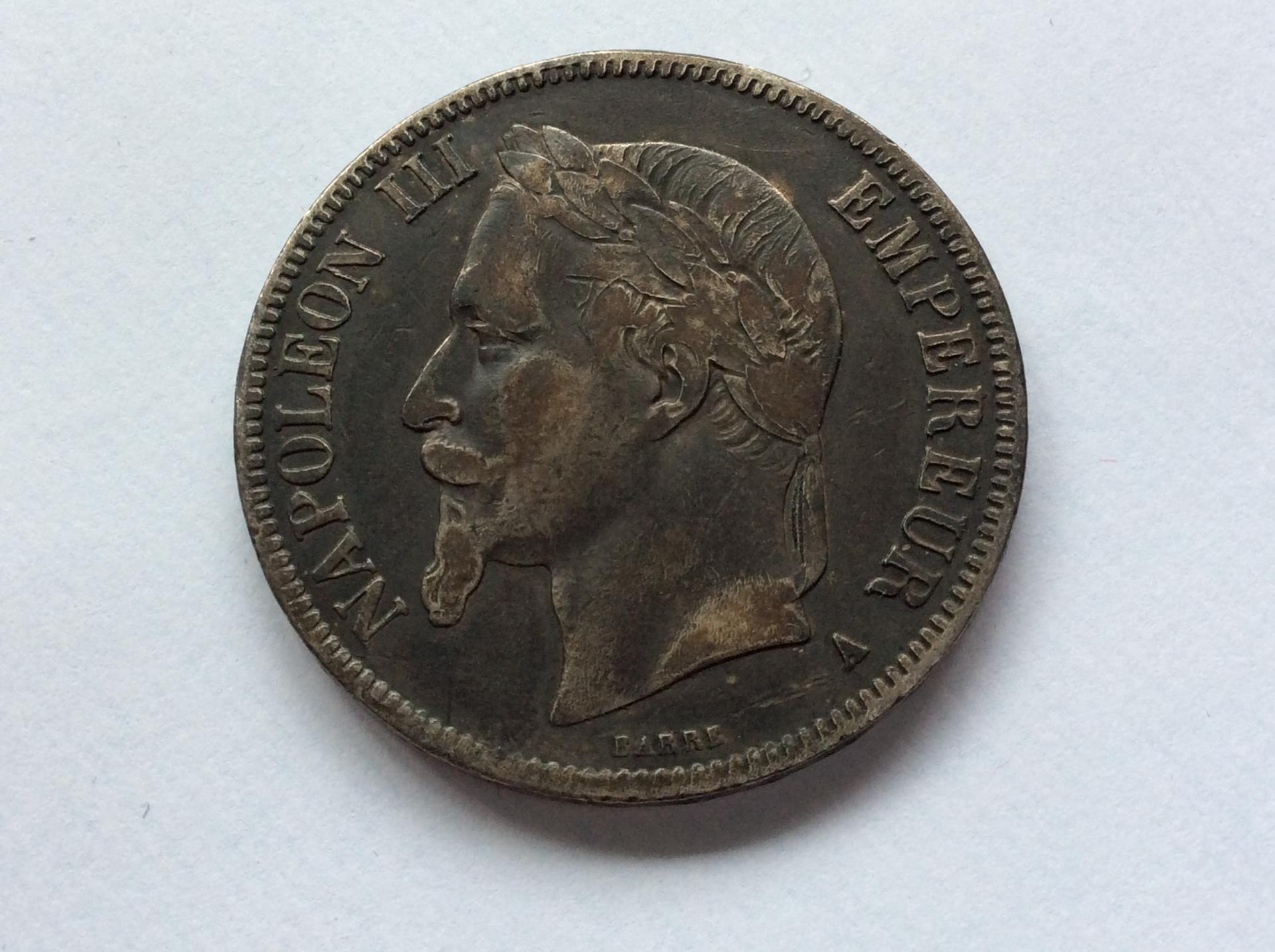 5 FRANCOS DE PLATA de 1868 DEL EMPERADOR NAPOLEON III - FRANCIA