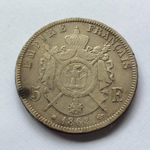 5 FRANCOS DE PLATA de 1868 DEL EMPERADOR NAPOLEON III - FRANCIA  [1]
