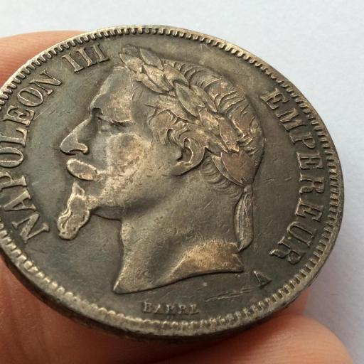 5 FRANCOS DE PLATA de 1868 DEL EMPERADOR NAPOLEON III - FRANCIA  [2]