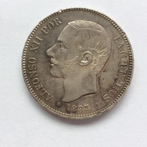 5 PESETAS 1885 *18*87 - MSM - ALFONSO XII  [2]