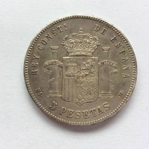 5 PESETAS 1885 *18*87 - MSM - ALFONSO XII  [3]
