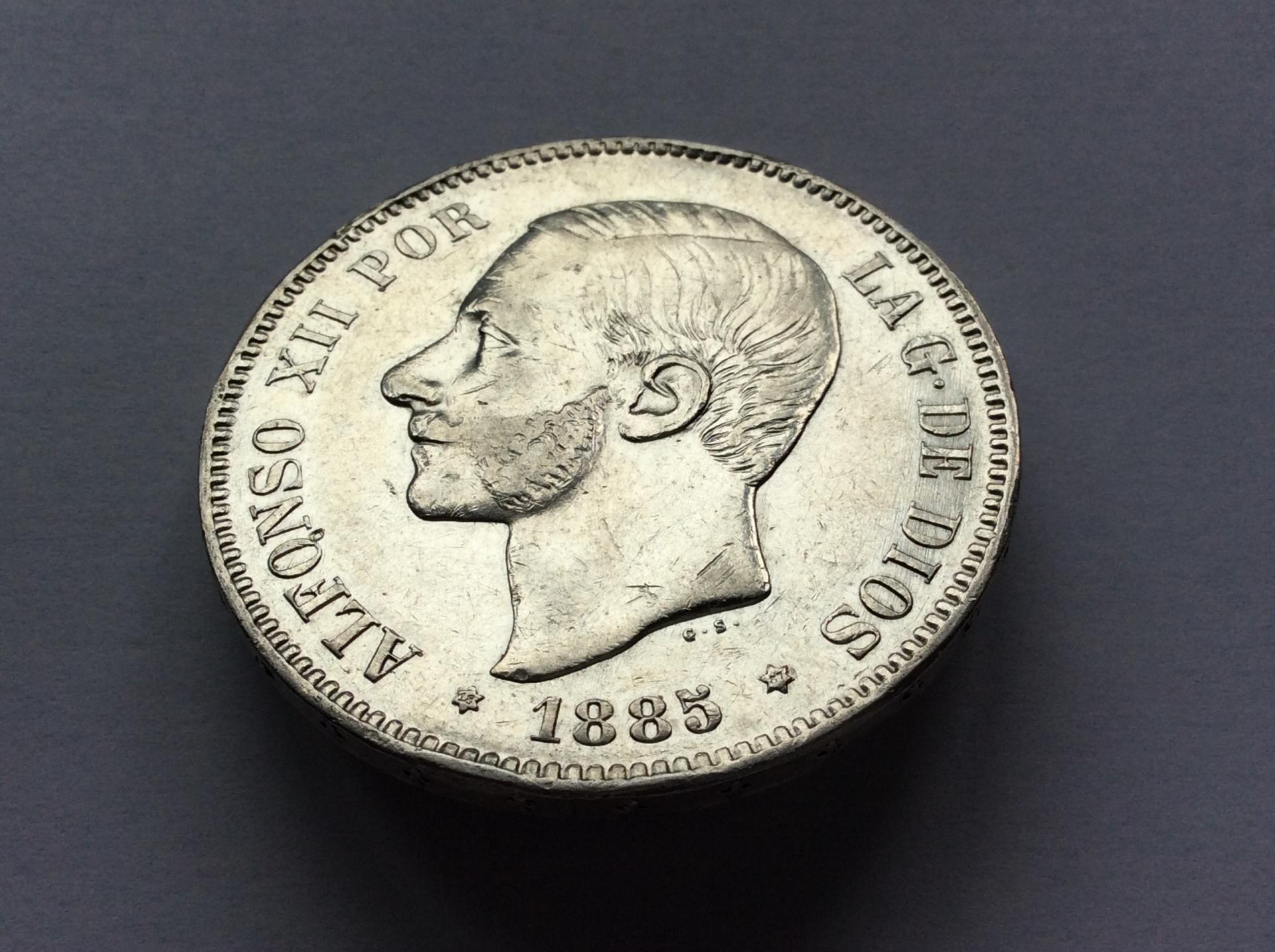 5 PESETAS 1885 *18*87 - MPM - ALFONSO XII
