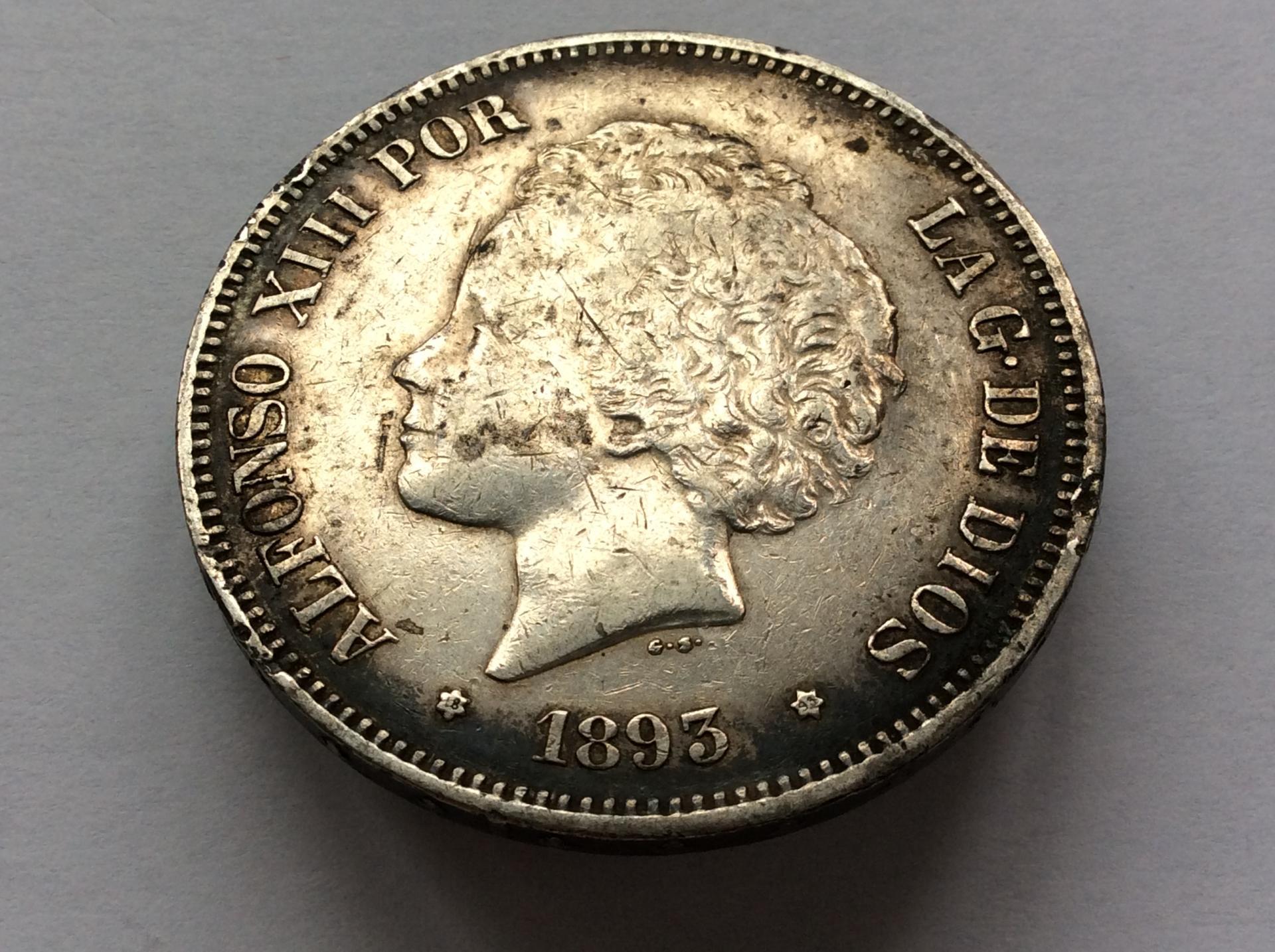5 PESETAS 1893 *18*93 - PGL - ALFONSO XIII - BUCLES