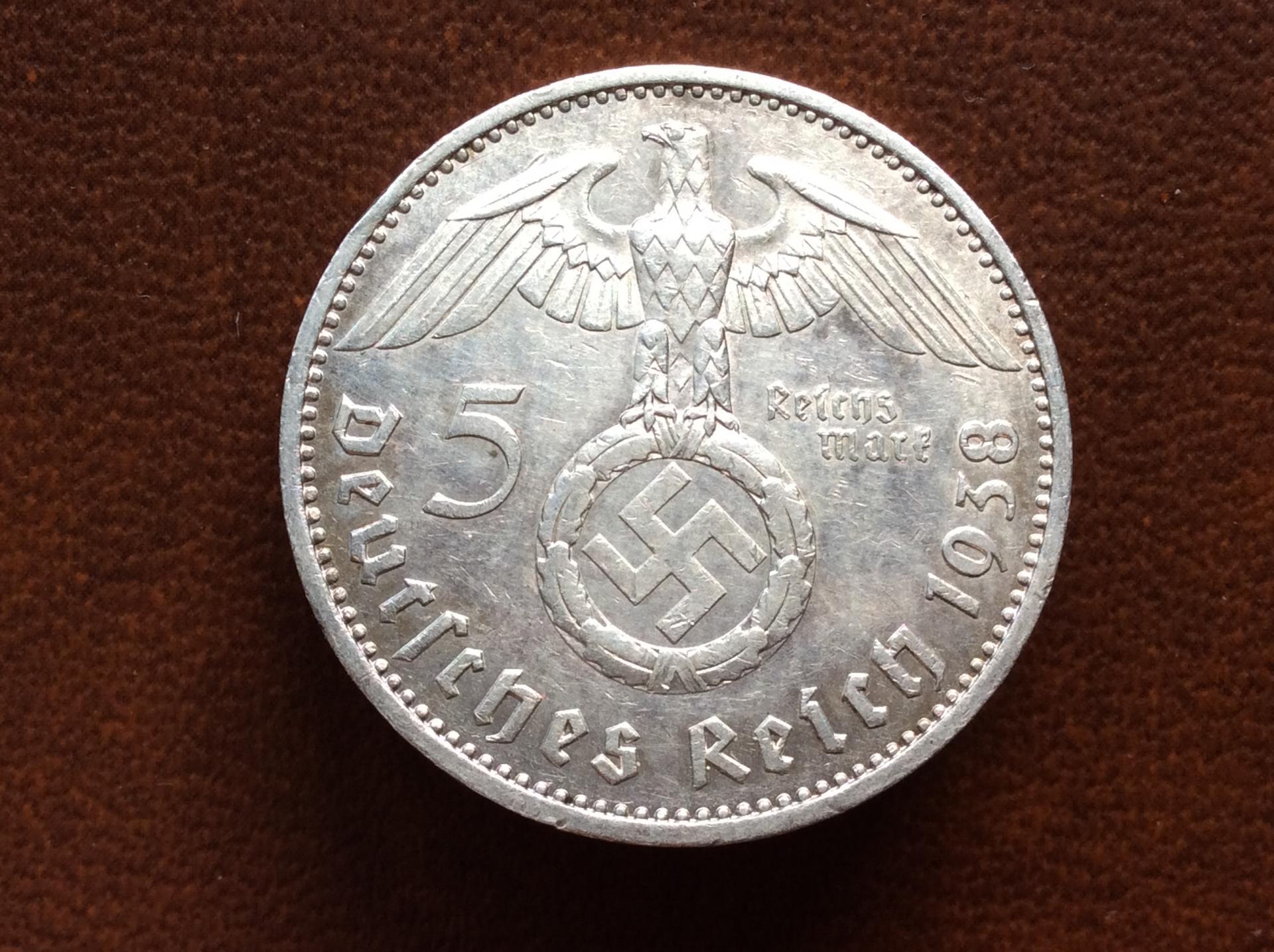 5 MARKS PLATA 1938 - ALEMANIA NAZI - 1847-1934 - ESVÁSTICA