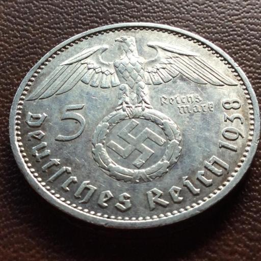 5 MARKS PLATA 1938 - ALEMANIA NAZI - 1847-1934 - ESVÁSTICA  [1]