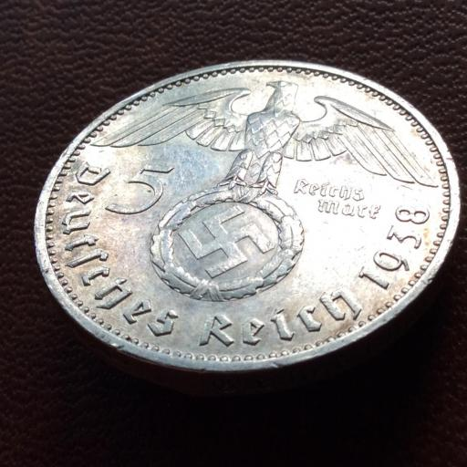 5 MARKS PLATA 1938 - ALEMANIA NAZI - 1847-1934 - ESVÁSTICA  [2]