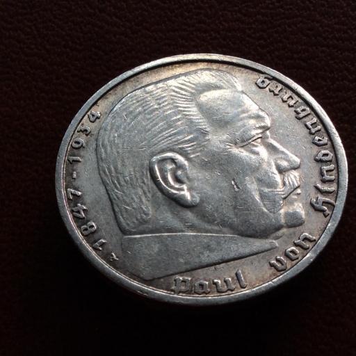 5 MARKS PLATA 1938 - ALEMANIA NAZI - 1847-1934 - ESVÁSTICA  [3]