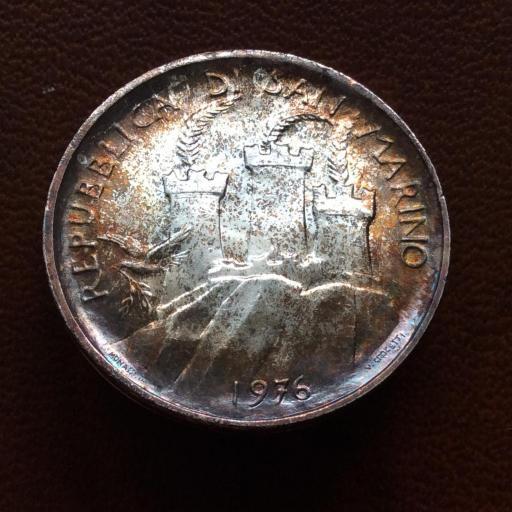 500 LIRAS PLATA 1976 - REPUBLICA DE SAN MARINO - SIN CIRCULAR - PATINA ARCOIRIS  [1]