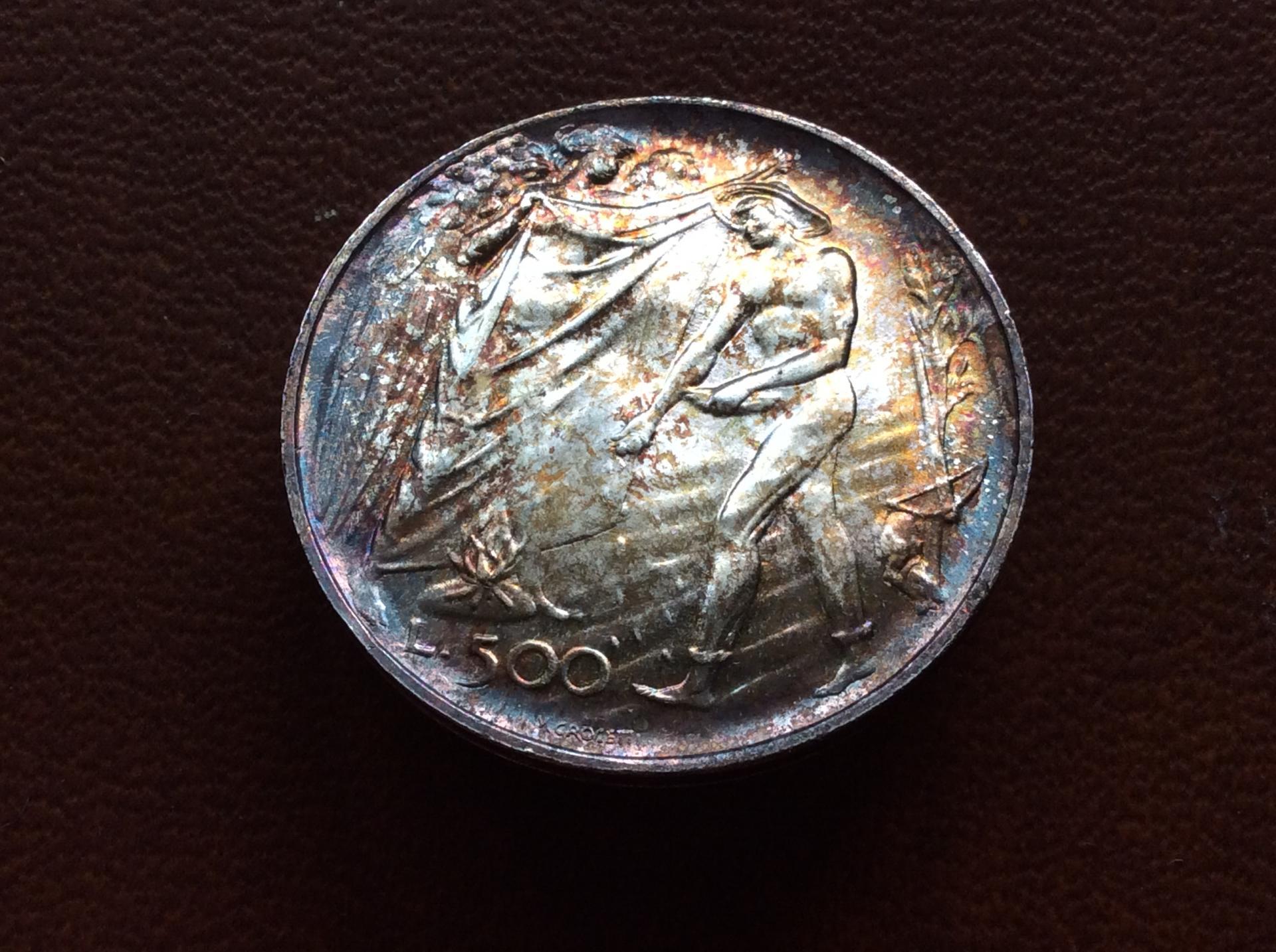 500 LIRAS PLATA 1976 - REPUBLICA DE SAN MARINO - SIN CIRCULAR - PATINA ARCOIRIS