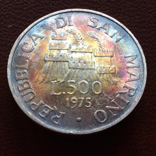 500 LIRAS PLATA 1975 - REPUBLICA DE SAN MARINO - SIN CIRCULAR - PATINA ARCOIRIS