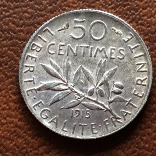 50 CÉNTIMOS DE PLATA DE 1915 - REPUBLICA FRANCESA - CASI SIN CIRCULAR  [1]