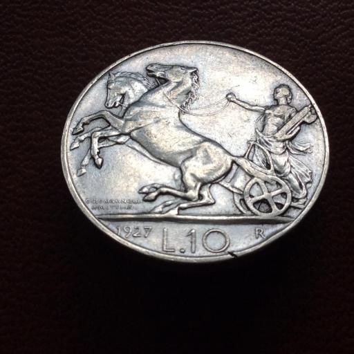 10 LIRAS DE PLATA DE 1927 - VITORIO EMANUELE III - REY DE ITALIA