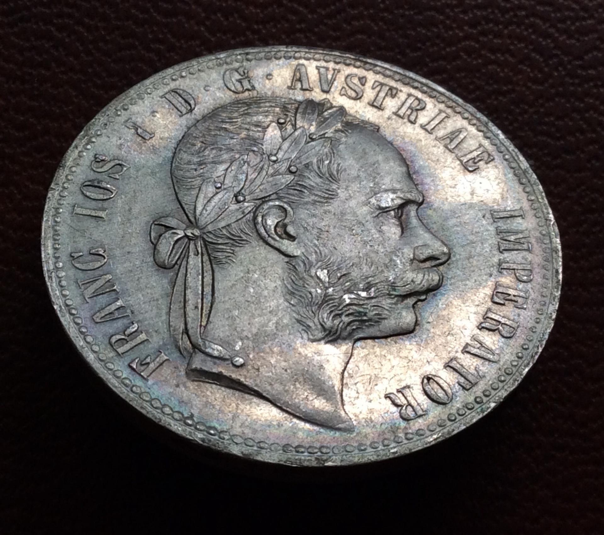 1 FLORÍN DE PLATA DE 1877 - FRANZ JOSEPH I - AUSTRIA - SIN CIRCULAR