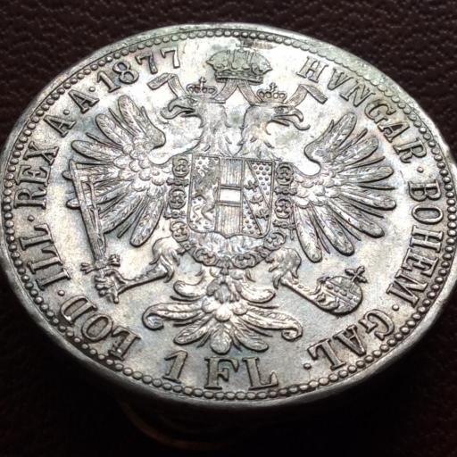 1 FLORÍN DE PLATA DE 1877 - FRANZ JOSEPH I - AUSTRIA - SIN CIRCULAR [2]