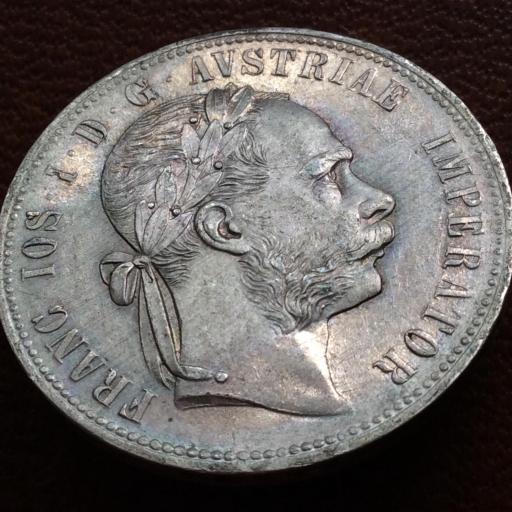 1 FLORÍN DE PLATA DE 1877 - FRANZ JOSEPH I - AUSTRIA - SIN CIRCULAR [3]