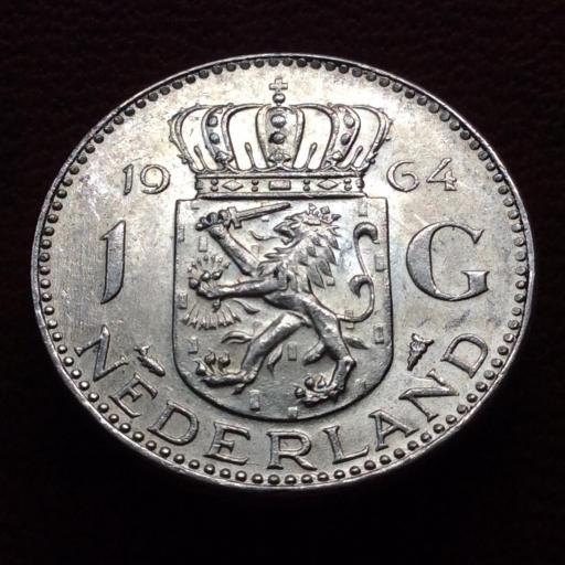 1 GULDEN DE PLATA DE 1964 - JULIANA DE HOLANDA - SIN CIRCULAR