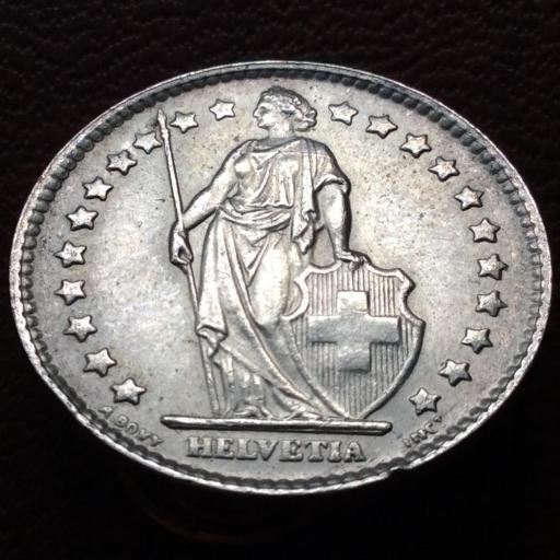 1 FRANCO DE PLATA DE 1964 - SUIZA - SIN CIRCULAR