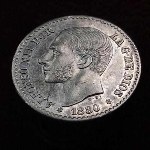 50 CÉNTIMOS PLATA 1880 - ALFONSO XIII - PRÁCTICAMENTE SIN CIRCULAR  [3]