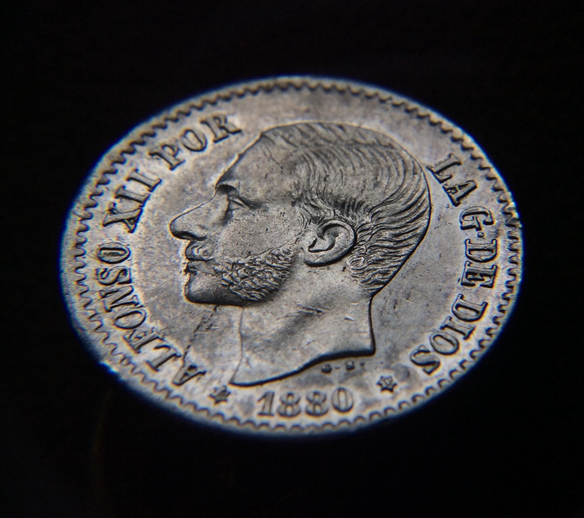 50 CÉNTIMOS PLATA 1880 - ALFONSO XIII - PRÁCTICAMENTE SIN CIRCULAR