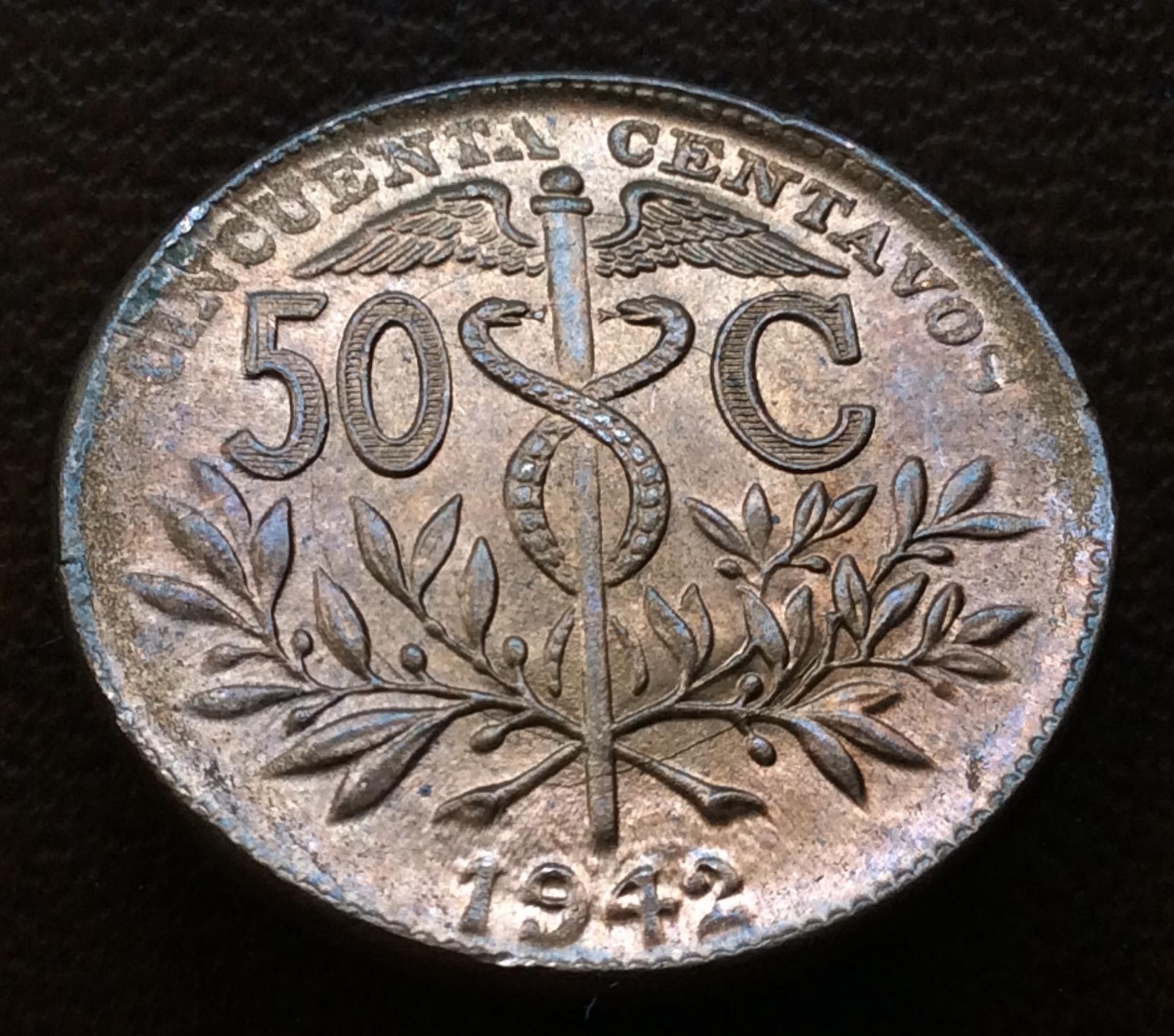 50 CÉNTIMOS DE 1942 - REPUBLICA DE BOLIVIA