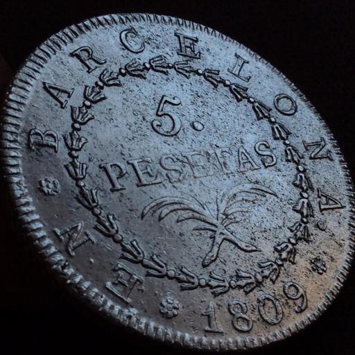 5 PESETAS PLATA 1809 - OCUPACIÓN NAPOLEONICA - BARCELONA - JOSÉ I BONAPARTE  [2]